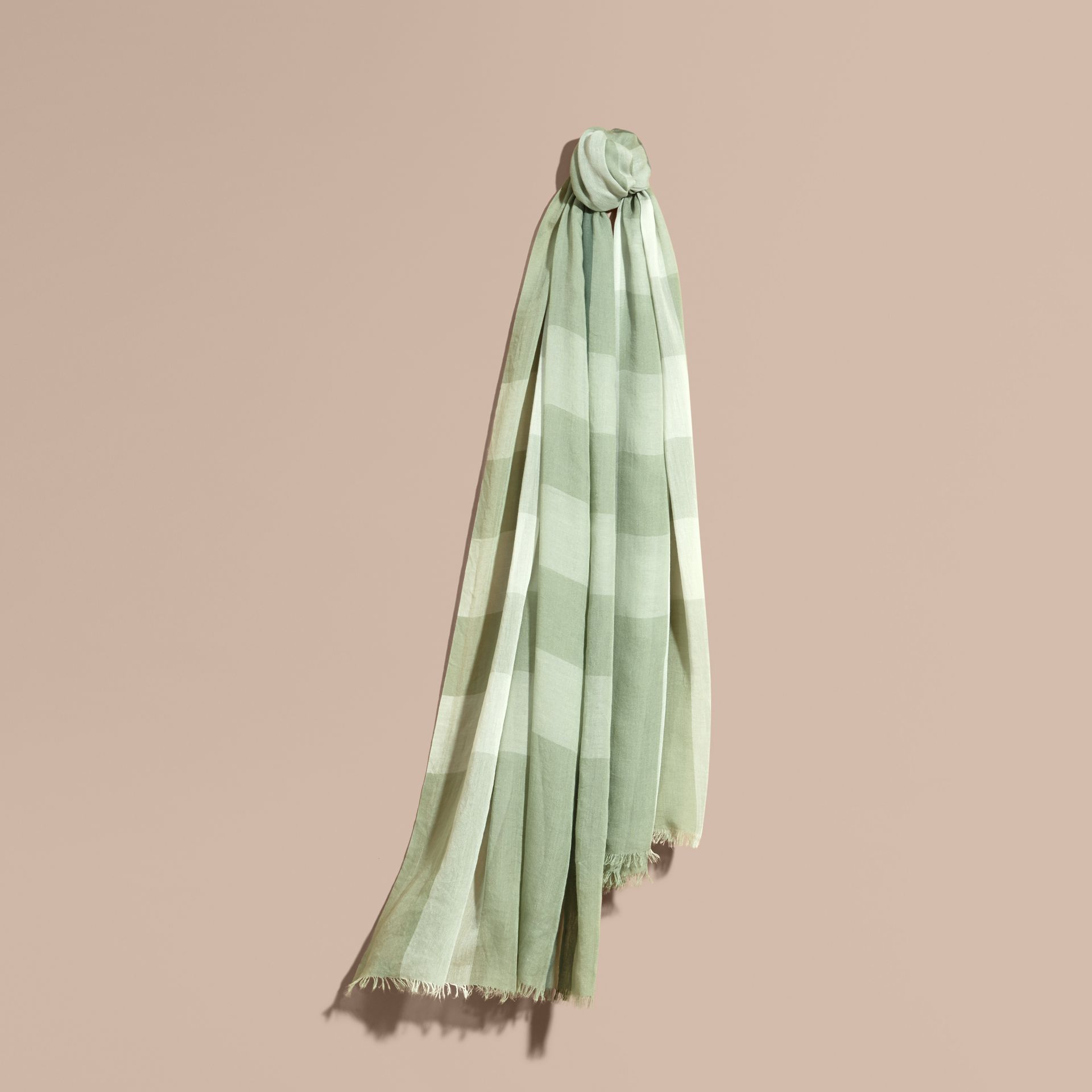 Check Modal Cashmere and Silk Scarf in Pale Opal - Women | Burberry - gallery image 1