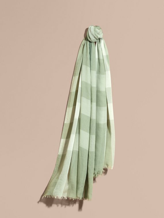 Check Modal Cashmere and Silk Scarf Pale Opal