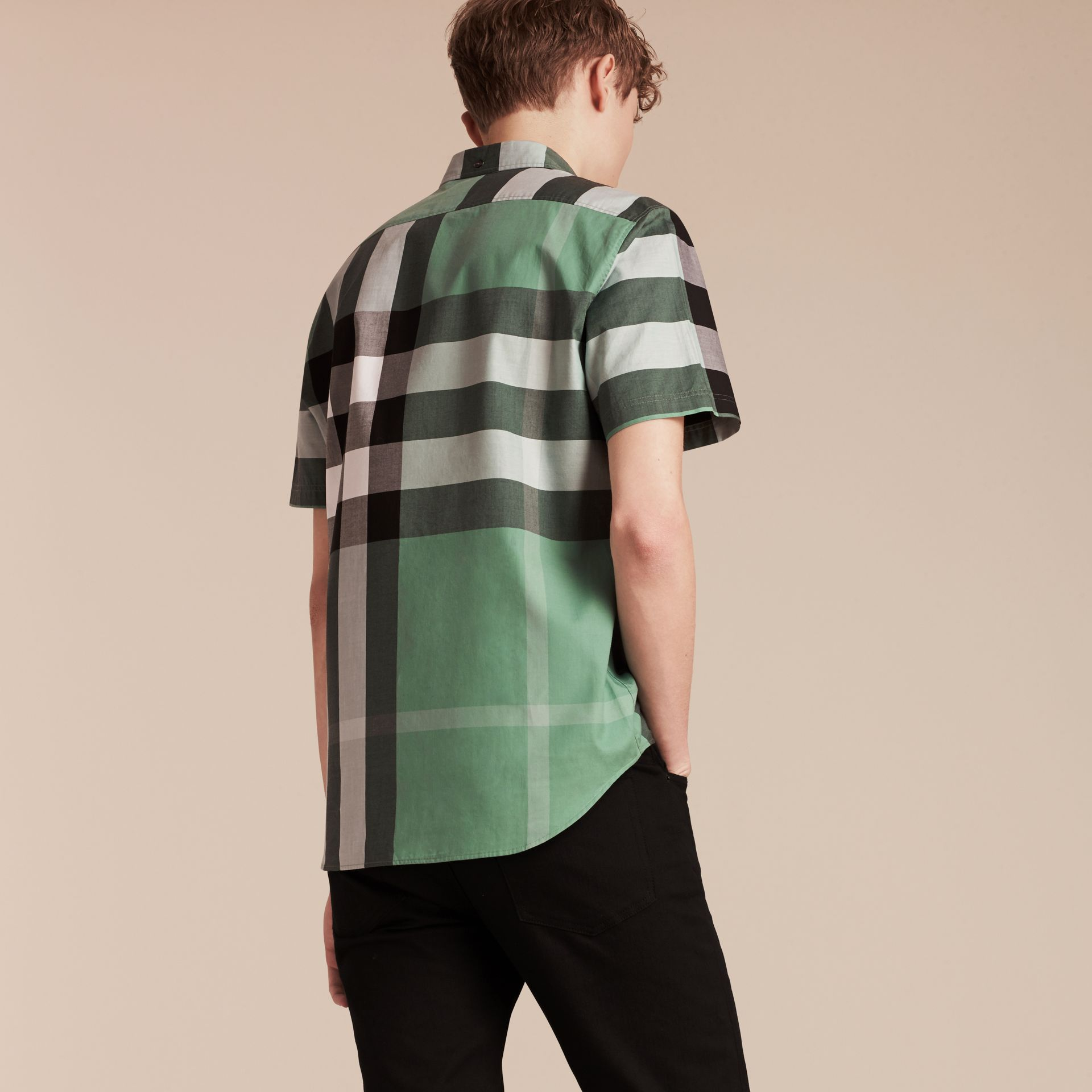 Aqua green Short-sleeved Check Cotton Shirt Aqua Green - gallery image 3