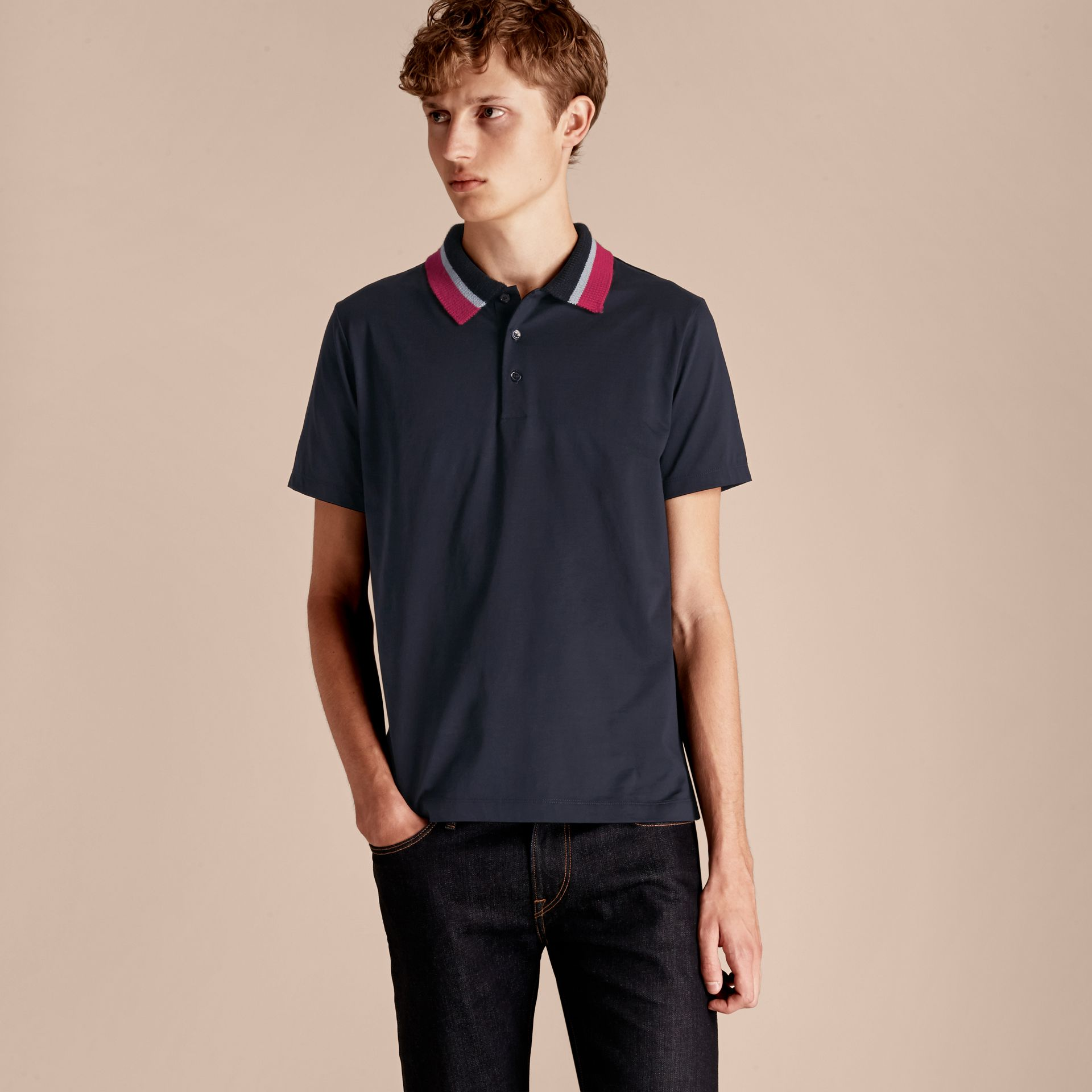 Navy Cotton Polo Shirt with Knitted Collar Navy - gallery image 6