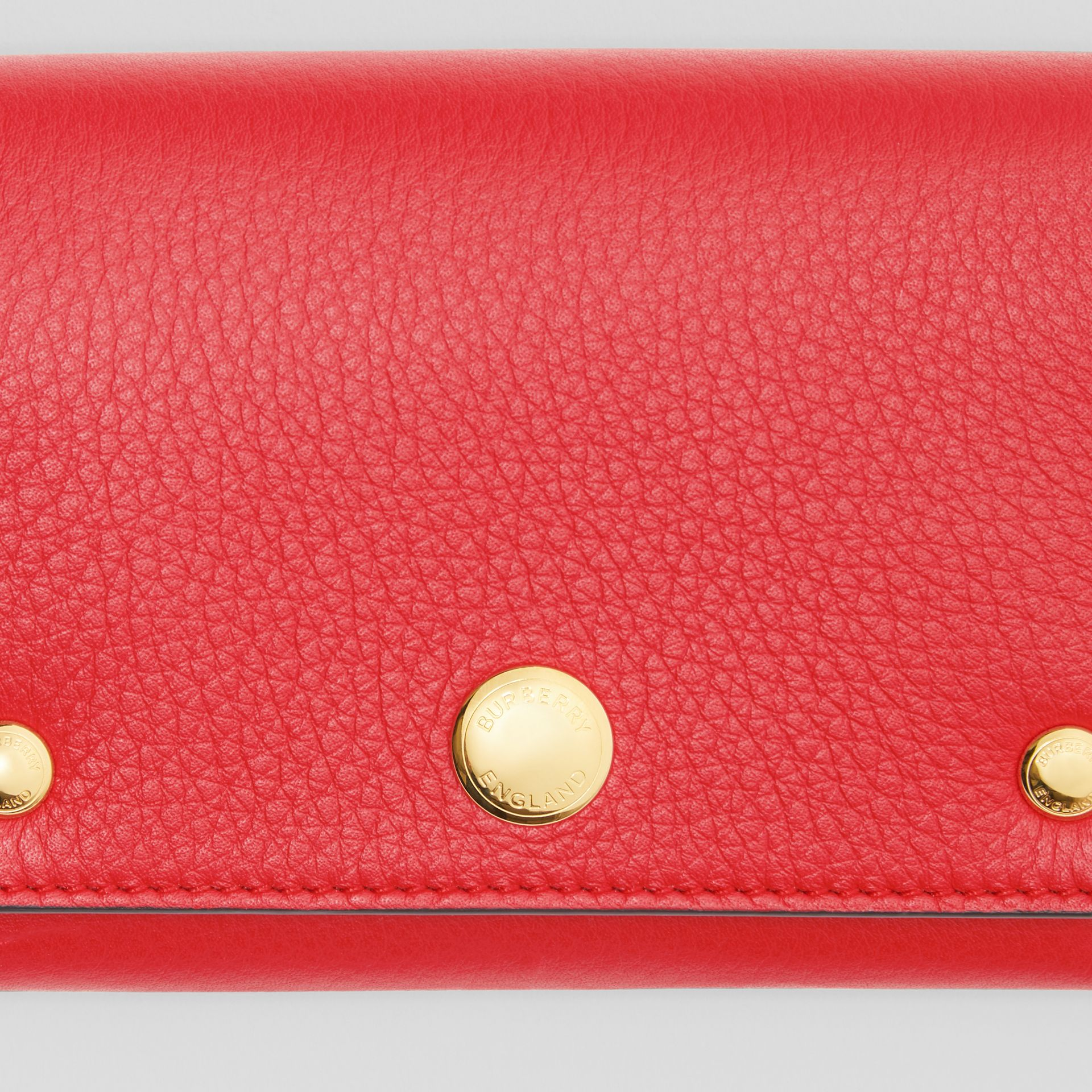 Triple Stud Leather Folding Wallet in Bright Military Red - Women | Burberry United Kingdom - gallery image 1