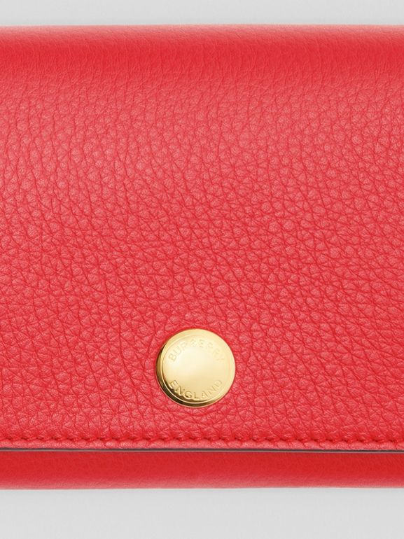 Triple Stud Leather Folding Wallet in Bright Military Red - Women | Burberry - cell image 1