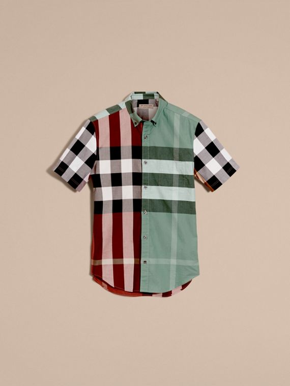 Parade red Short-sleeved Colour Block Check Cotton Shirt Parade Red - cell image 3