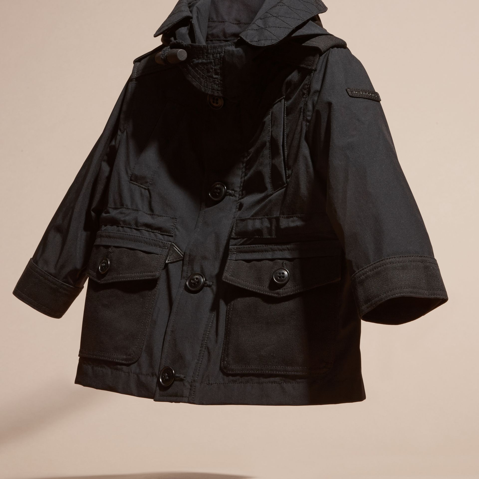Black Showerproof Jacket with Detachable Hood - gallery image 3
