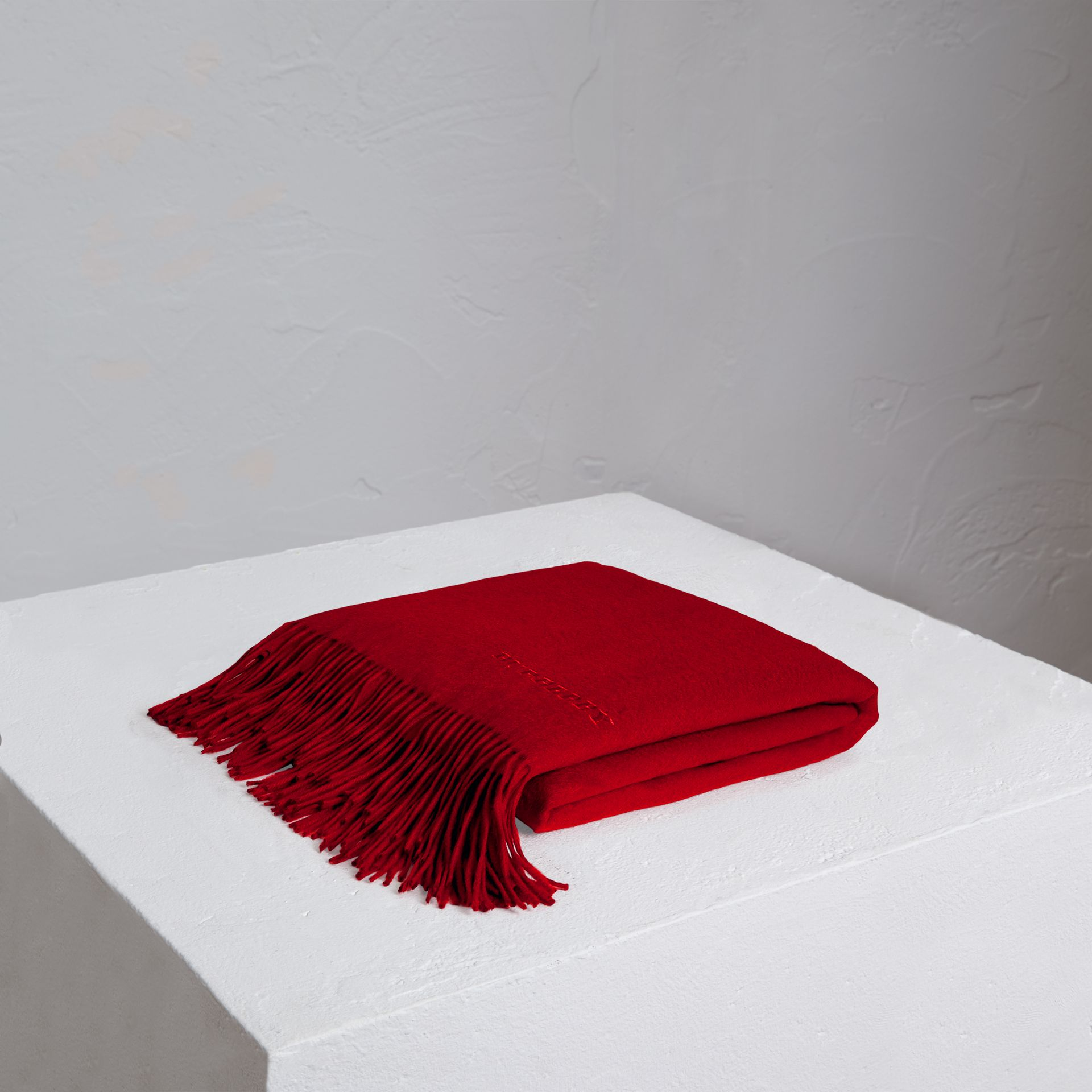 Cashmere Blanket in Parade Red | Burberry United Kingdom - gallery image 0