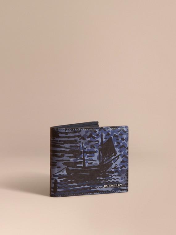 British Seaside Print London Leather Folding Wallet