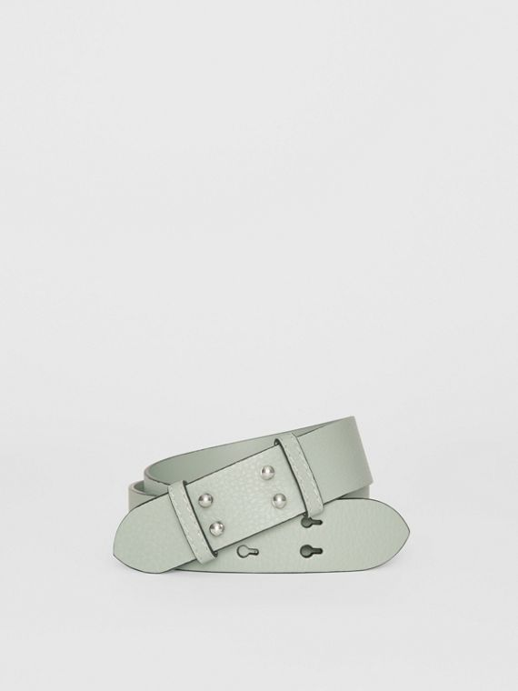 The Small Belt Bag Grainy Leather Belt in Grey Blue