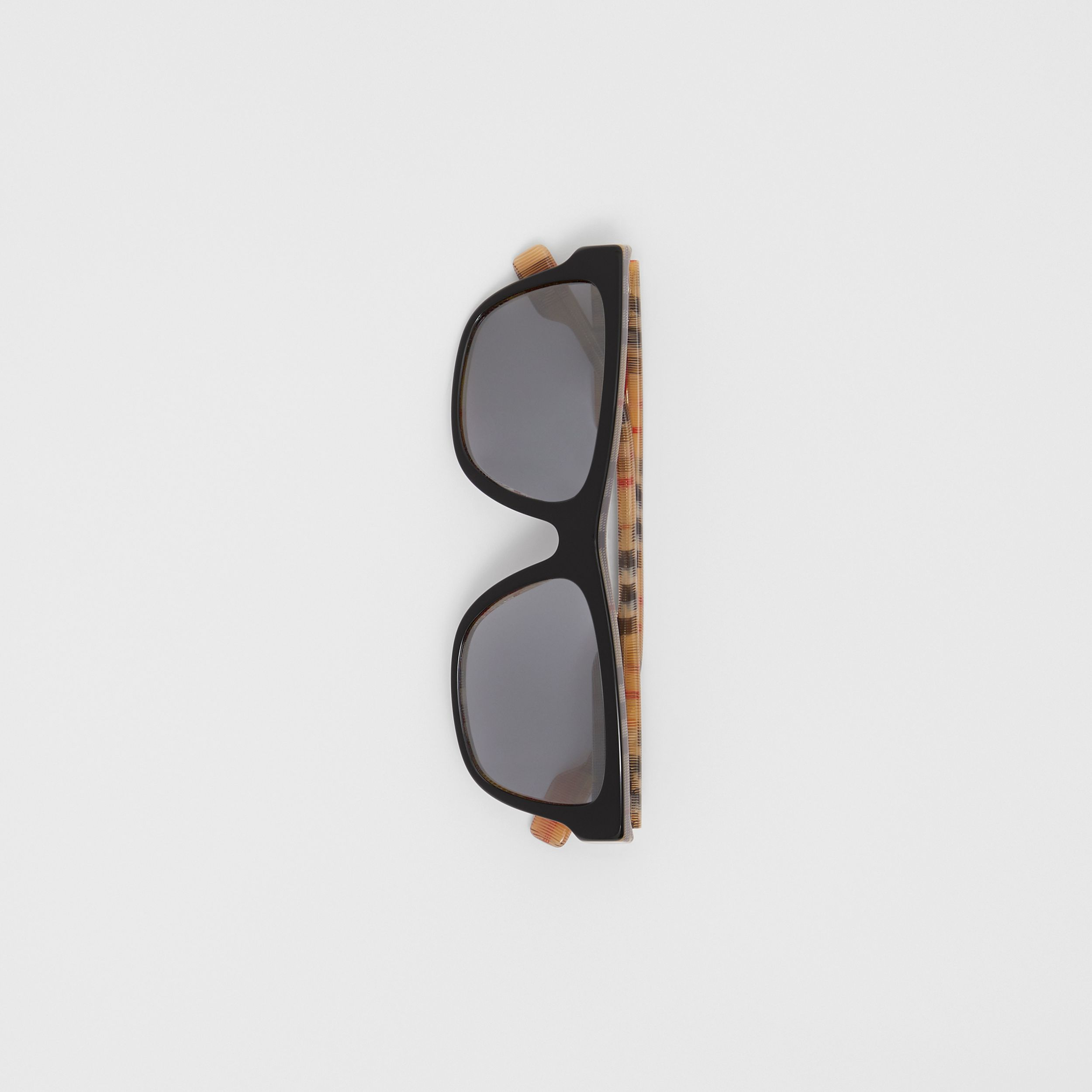 Vintage Check Detail Square Frame Sunglasses in Black / Beige - Men | Burberry Canada - 4