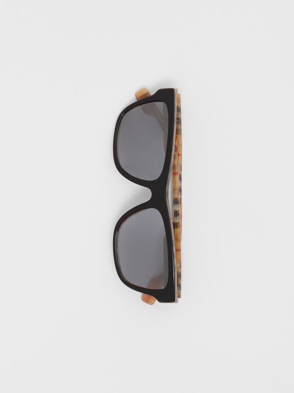 Vintage Check Detail Square Frame Sunglasses in Black / Beige - Men | Burberry - cell image 3