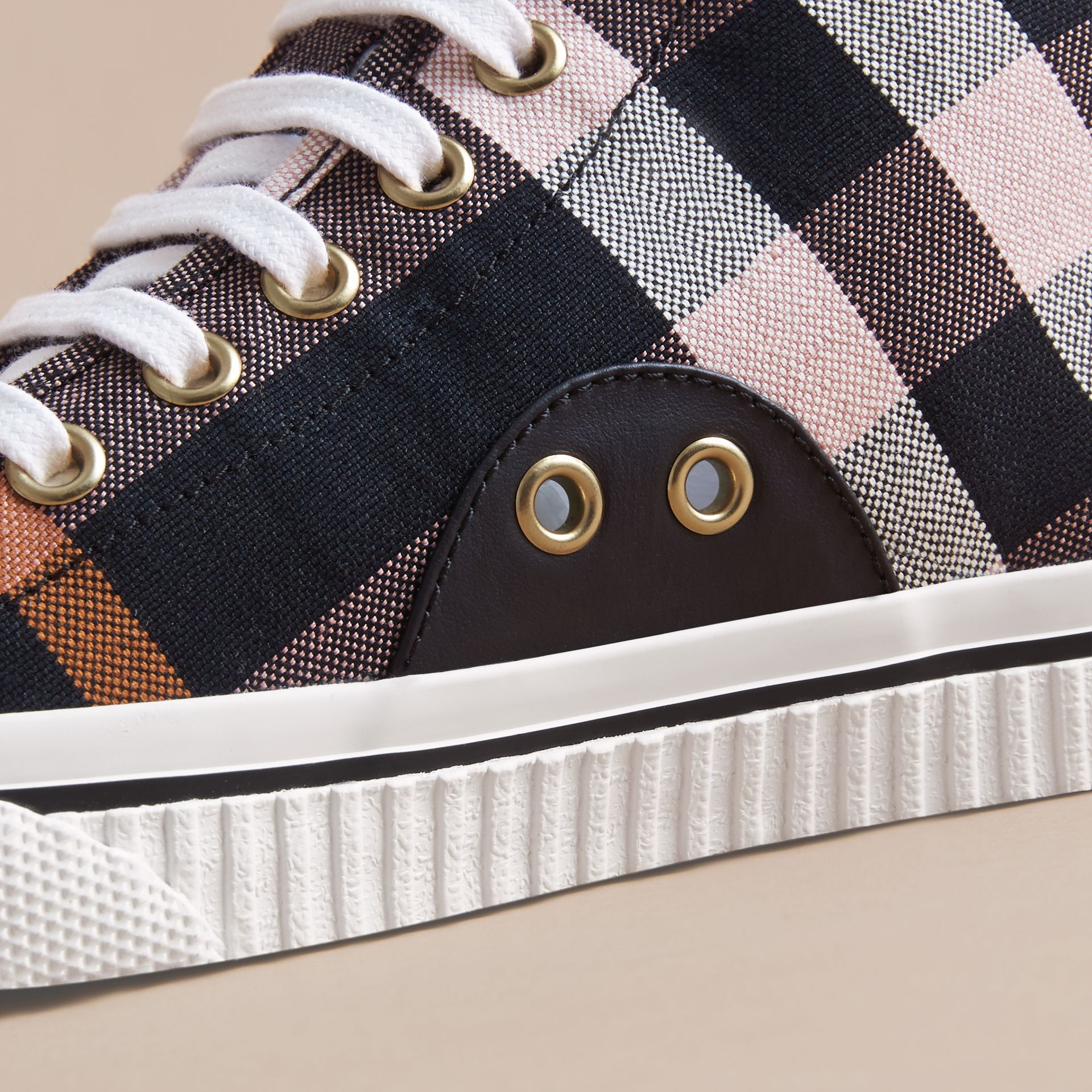 Check Linen Cotton High-top Trainers - Women | Burberry - gallery image 2