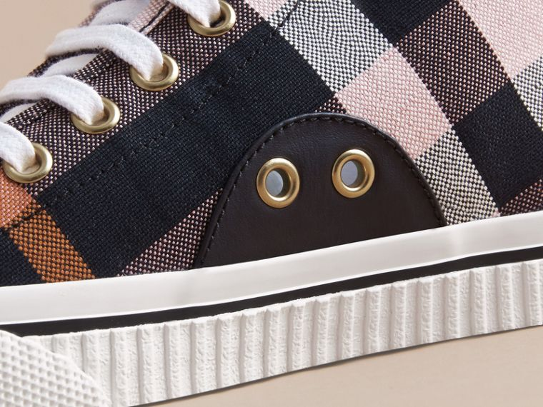 Check Linen Cotton High-top Trainers - Women | Burberry - cell image 1