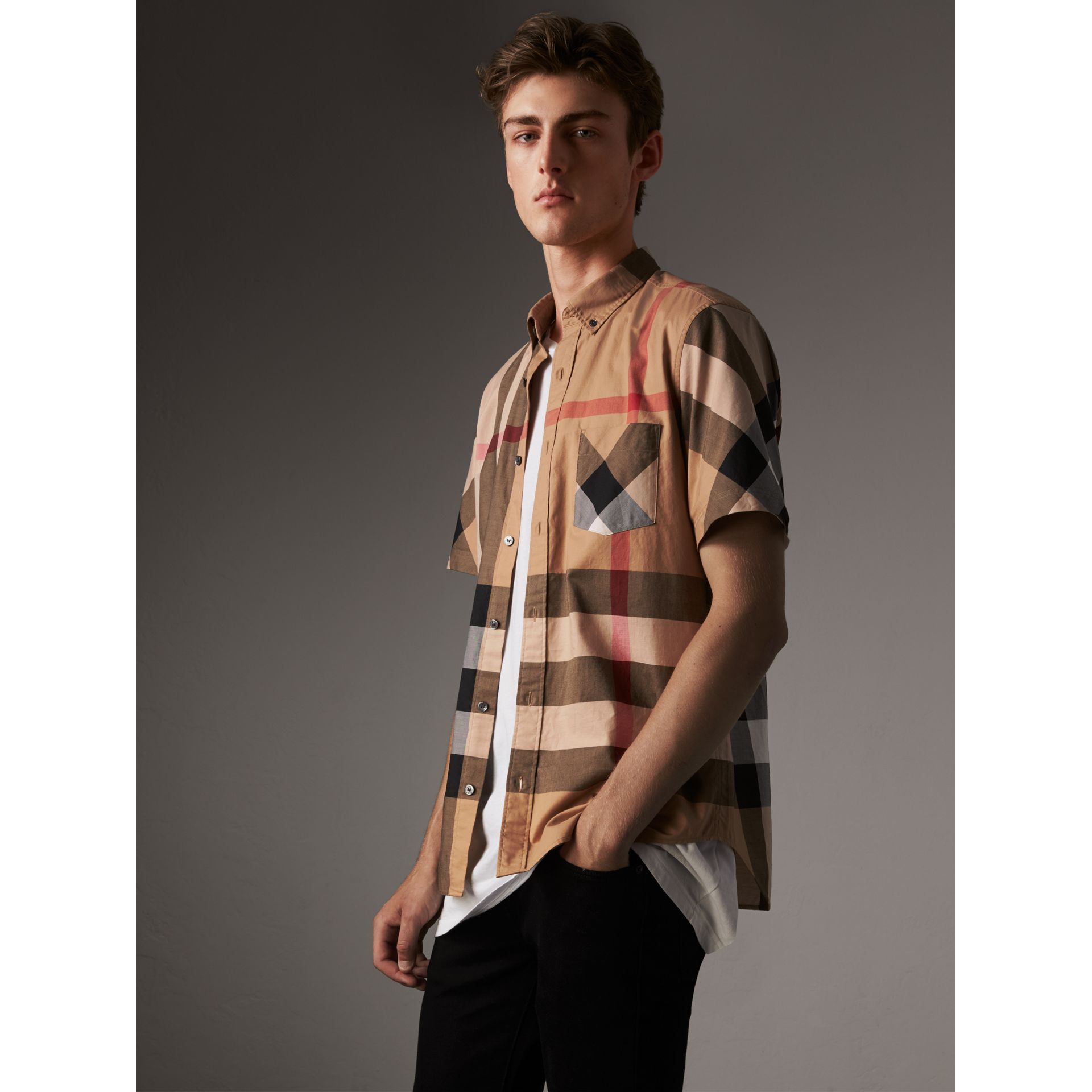 Short-sleeve Check Stretch Cotton Blend Shirt in Camel - Men | Burberry Singapore - gallery image 4