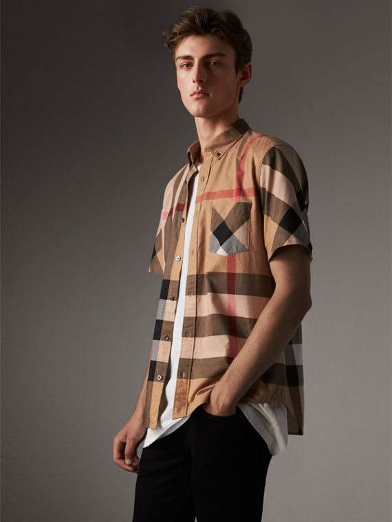 Short-sleeve Check Stretch Cotton Blend Shirt in Camel - Men | Burberry