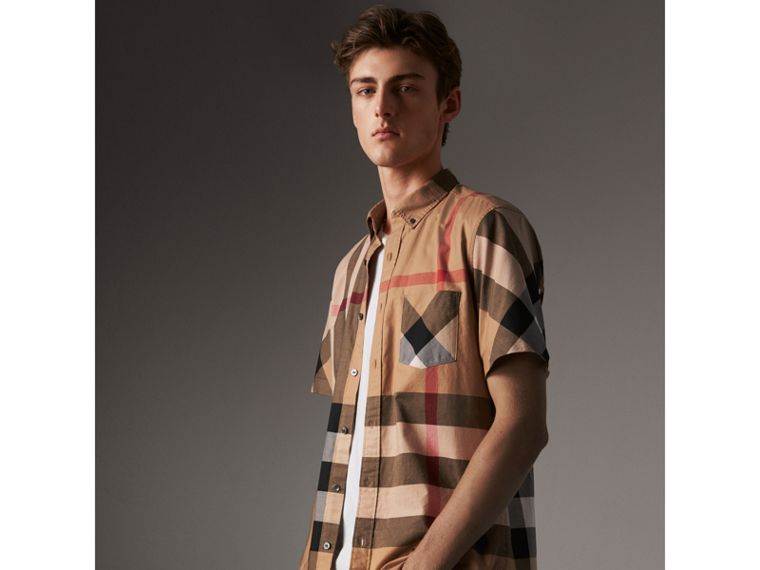 Short-sleeve Check Stretch Cotton Blend Shirt in Camel - Men | Burberry - cell image 4