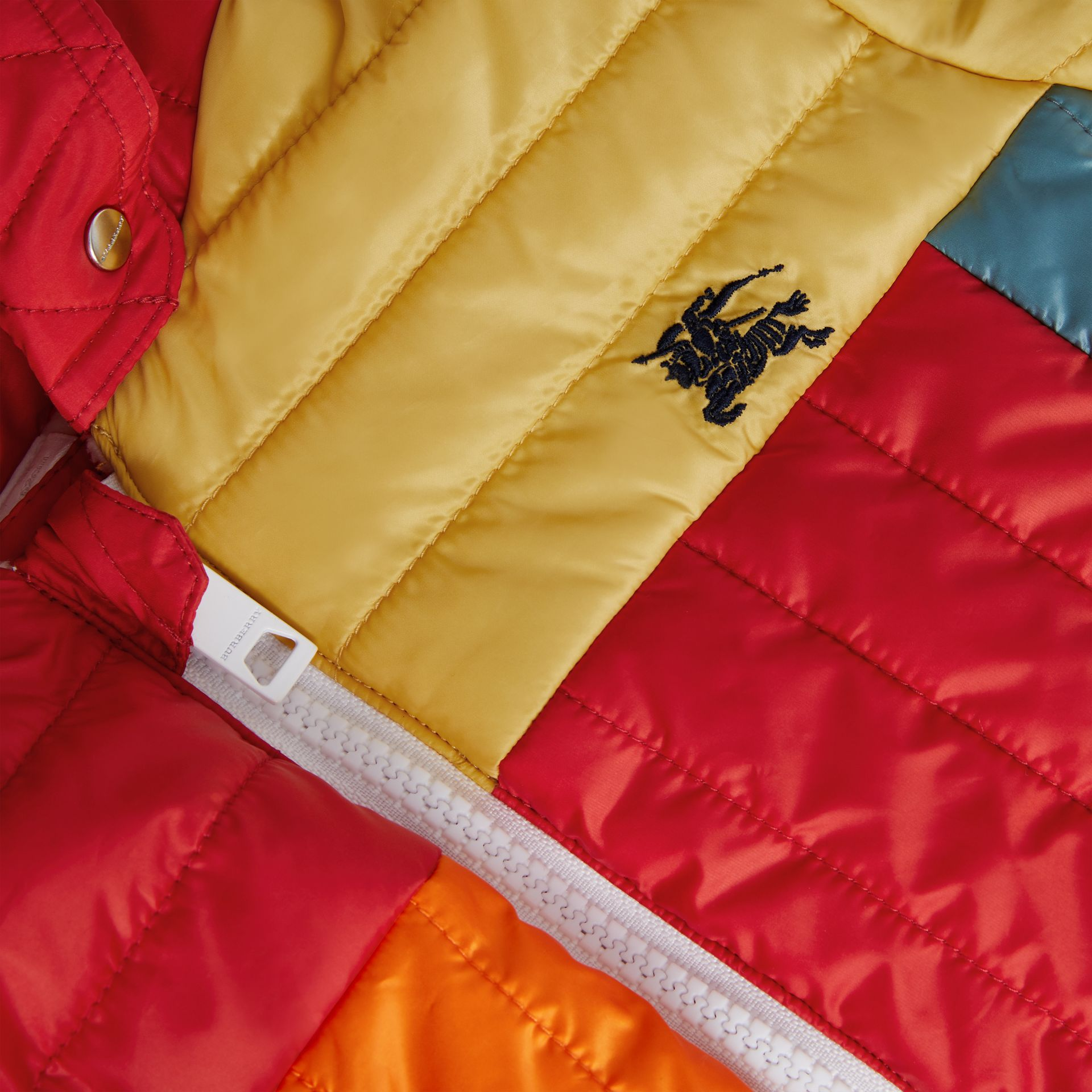 Colour Block Quilted Puffer Suit in Orange Red - Children | Burberry United Kingdom - gallery image 1