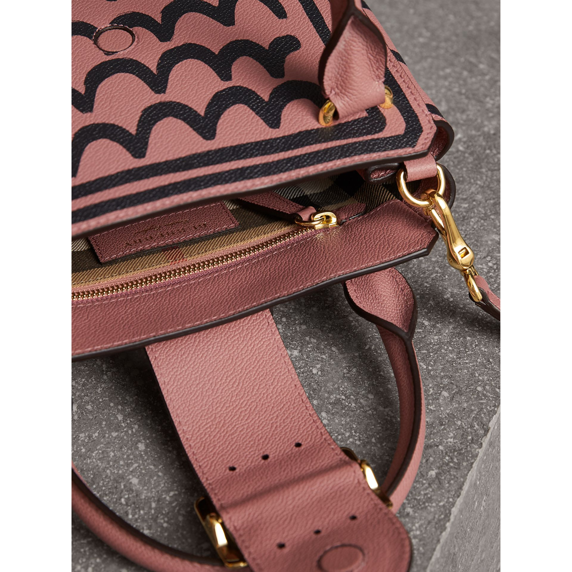 The Small Buckle Tote in Trompe L'oeil Print Leather in Dusty Pink - Women | Burberry Singapore - gallery image 6