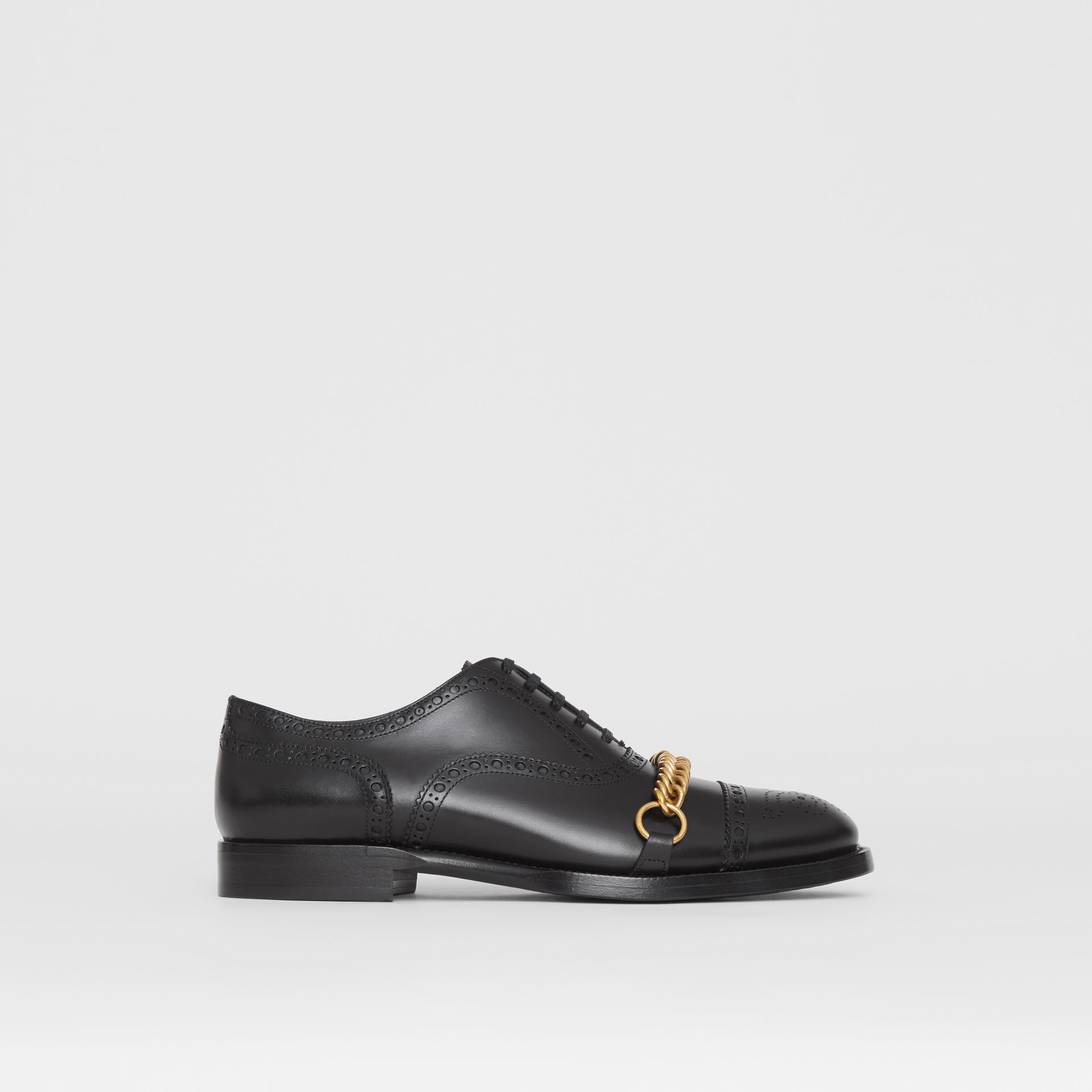 Link Detail Leather Brogues in Black - Men | Burberry - gallery image 5