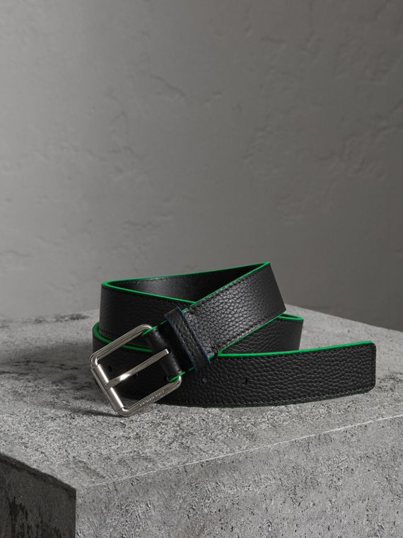 Contrast Detail Leather Belt in Black