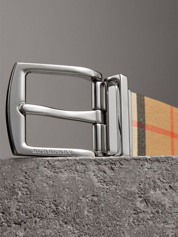 Reversible Vintage Check Leather Belt in Black - Men | Burberry Canada - cell image 1