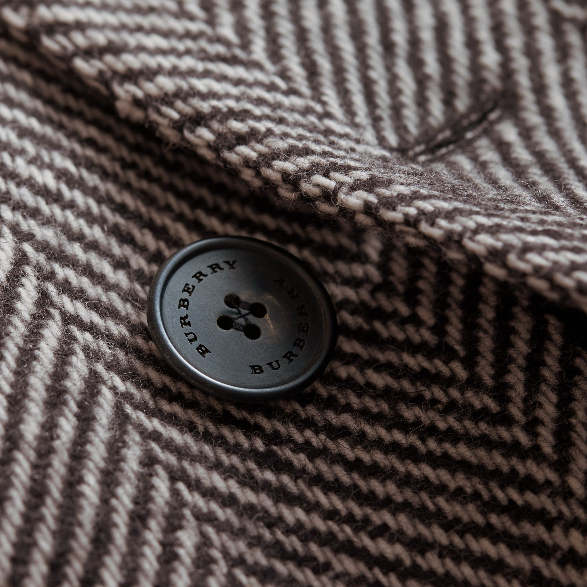 Donegal Herringbone Wool Topcoat in Black - Men | Burberry - gallery image 2