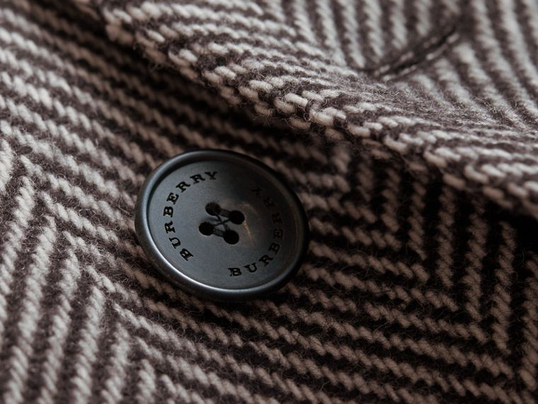 Donegal Herringbone Wool Topcoat in Black - Men | Burberry - cell image 1