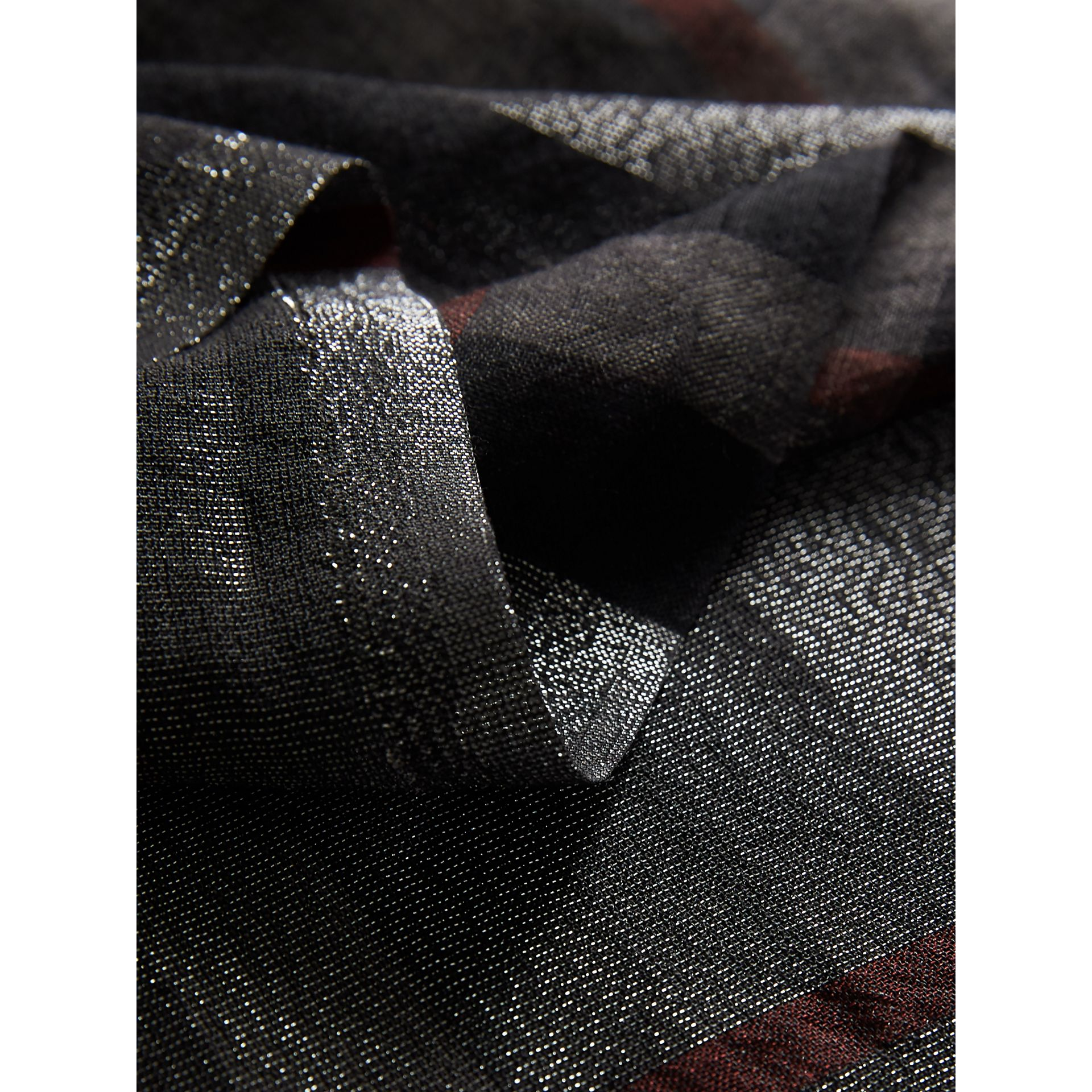 Metallic Check Silk and Wool Scarf in Charcoal - Women | Burberry Australia - gallery image 2