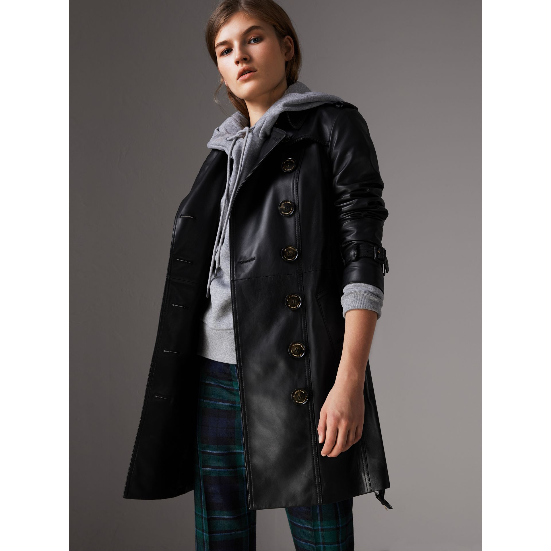 Lambskin Trench Coat in Black - Women | Burberry - gallery image 0