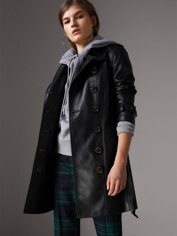 Trench coat in pelle di agnello (Nero)