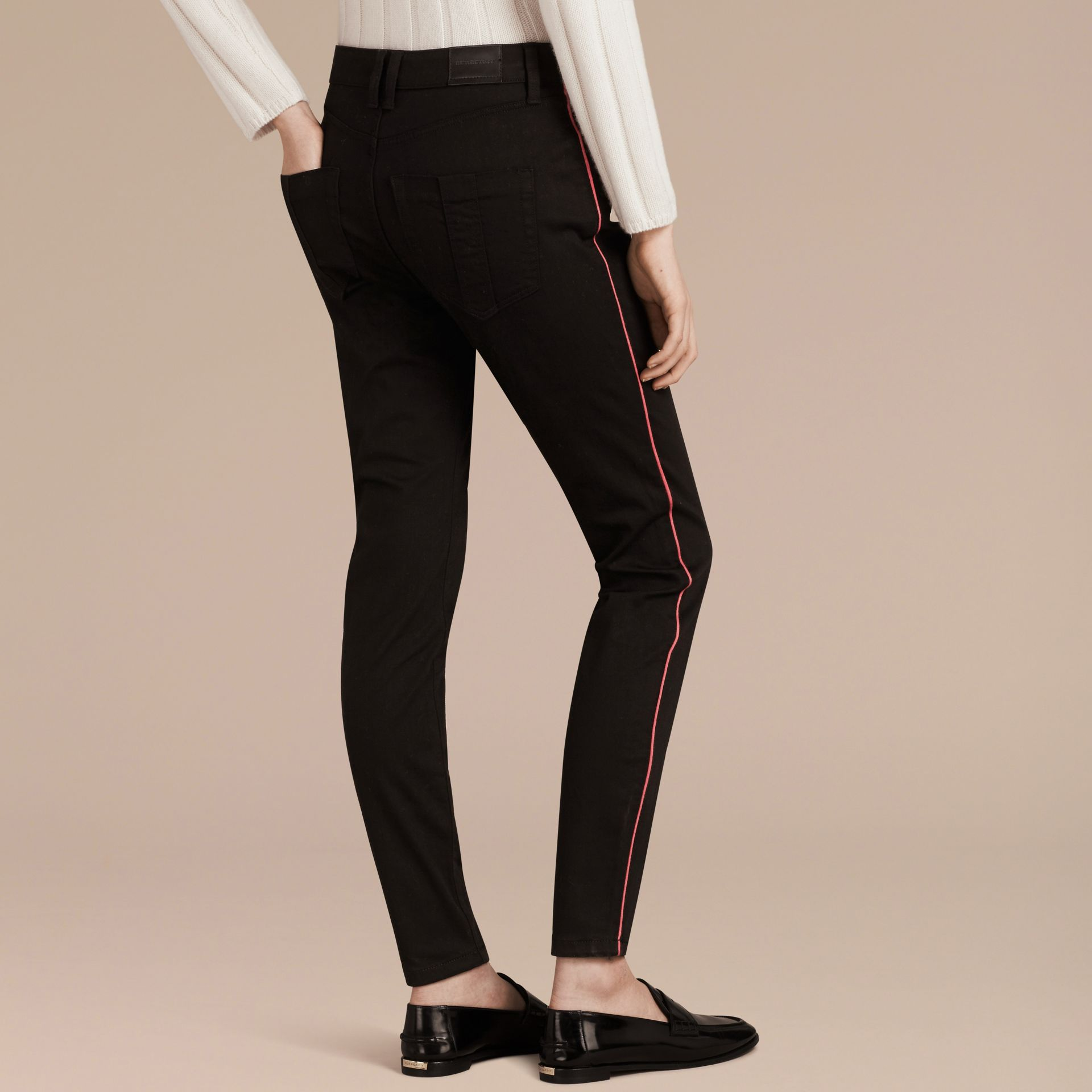 Skinny Fit Stretch Jeans with Piping Detail - gallery image 3
