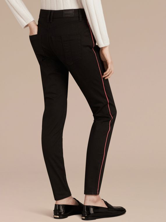 Skinny Fit Stretch Jeans with Piping Detail - cell image 2
