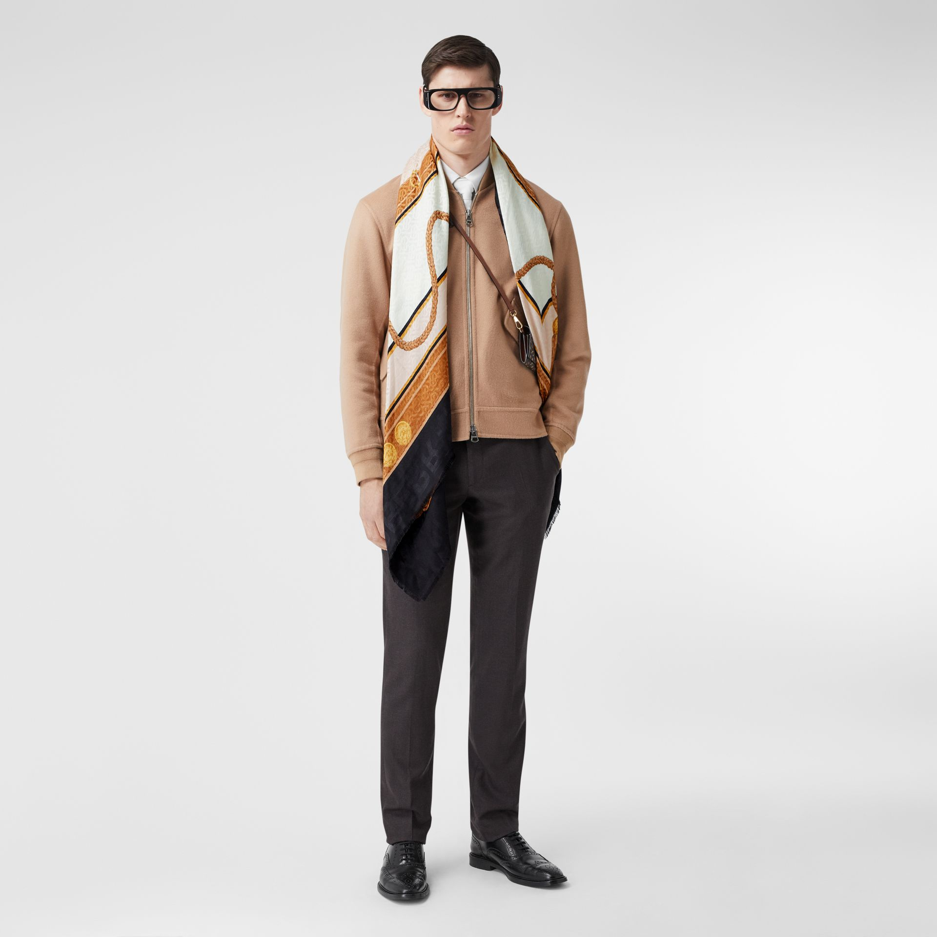 Archive Scarf Print Silk Wool Large Square Scarf in Blush | Burberry - gallery image 6