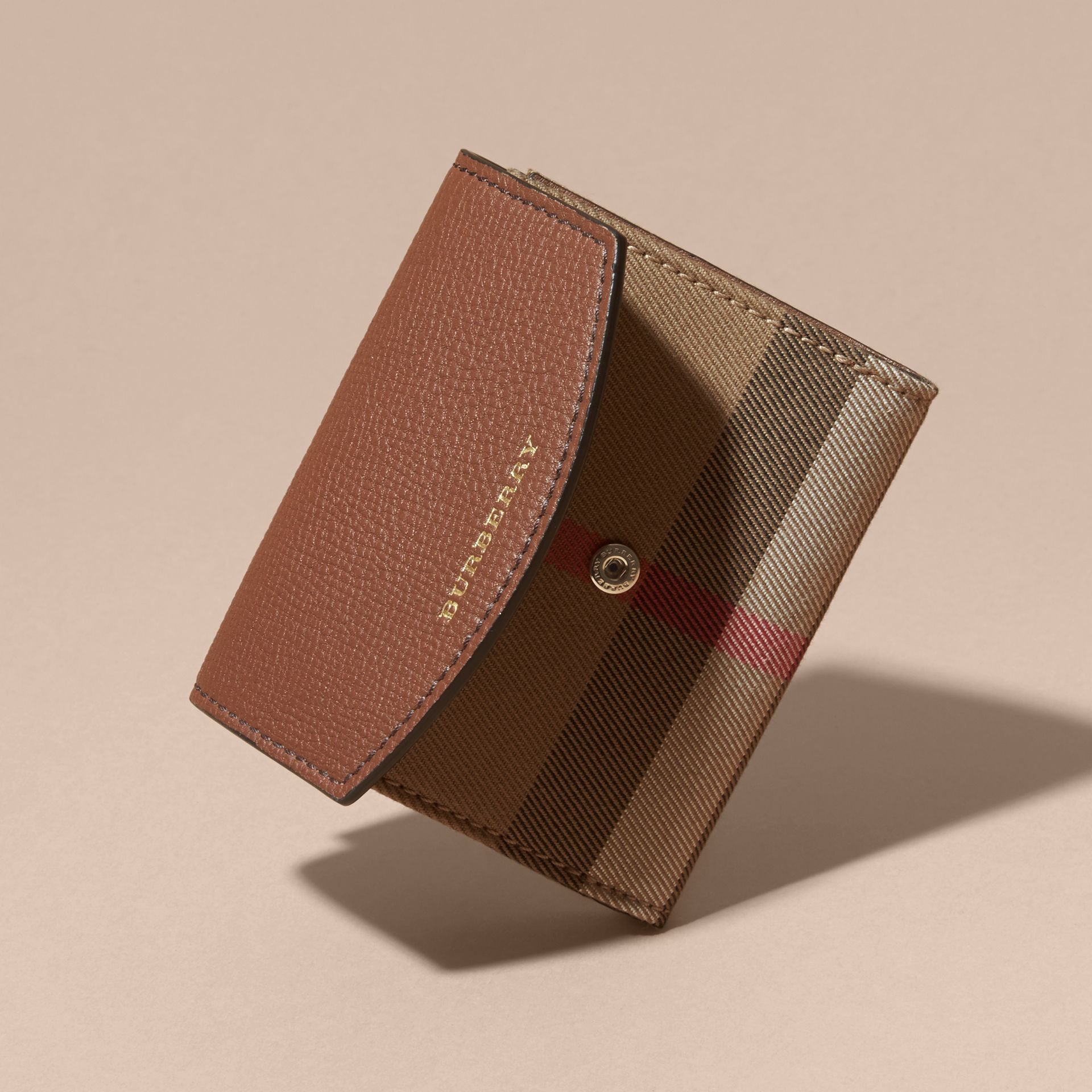 House Check and Leather Wallet in Tan - Women | Burberry - gallery image 4