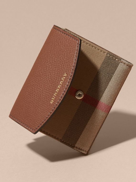 House Check and Leather Wallet in Tan - Women | Burberry - cell image 3