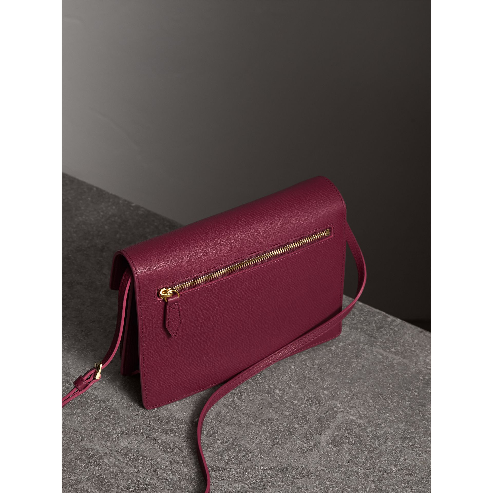 Small Leather and House Check Crossbody Bag in Berry Pink - Women | Burberry - gallery image 3