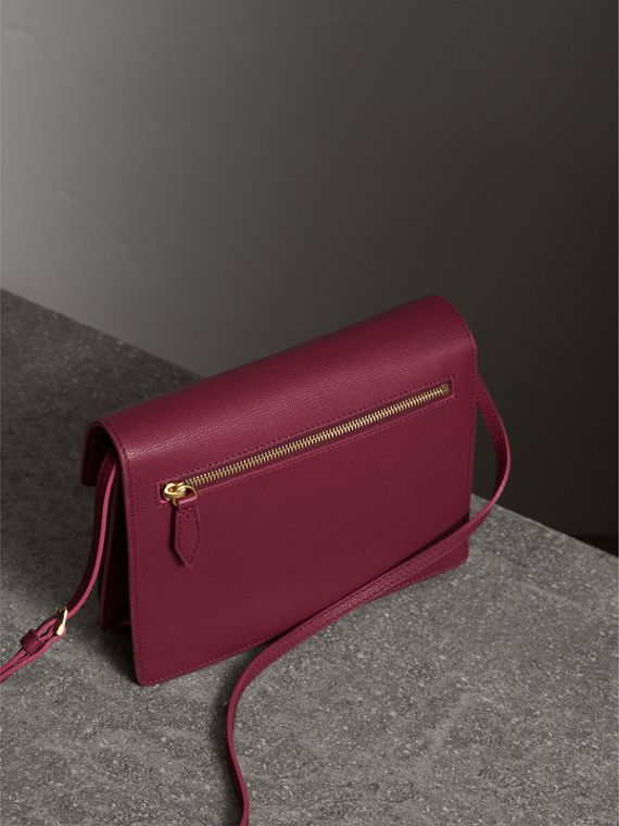 Small Leather and House Check Crossbody Bag in Berry Pink - Women | Burberry - cell image 2