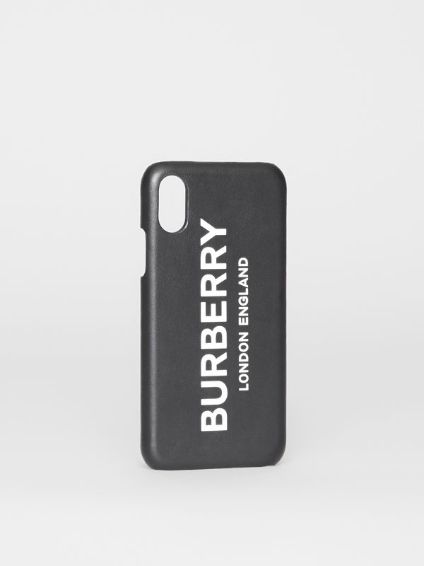 Logo Print Leather iPhone X/XS Case in Black | Burberry - cell image 3