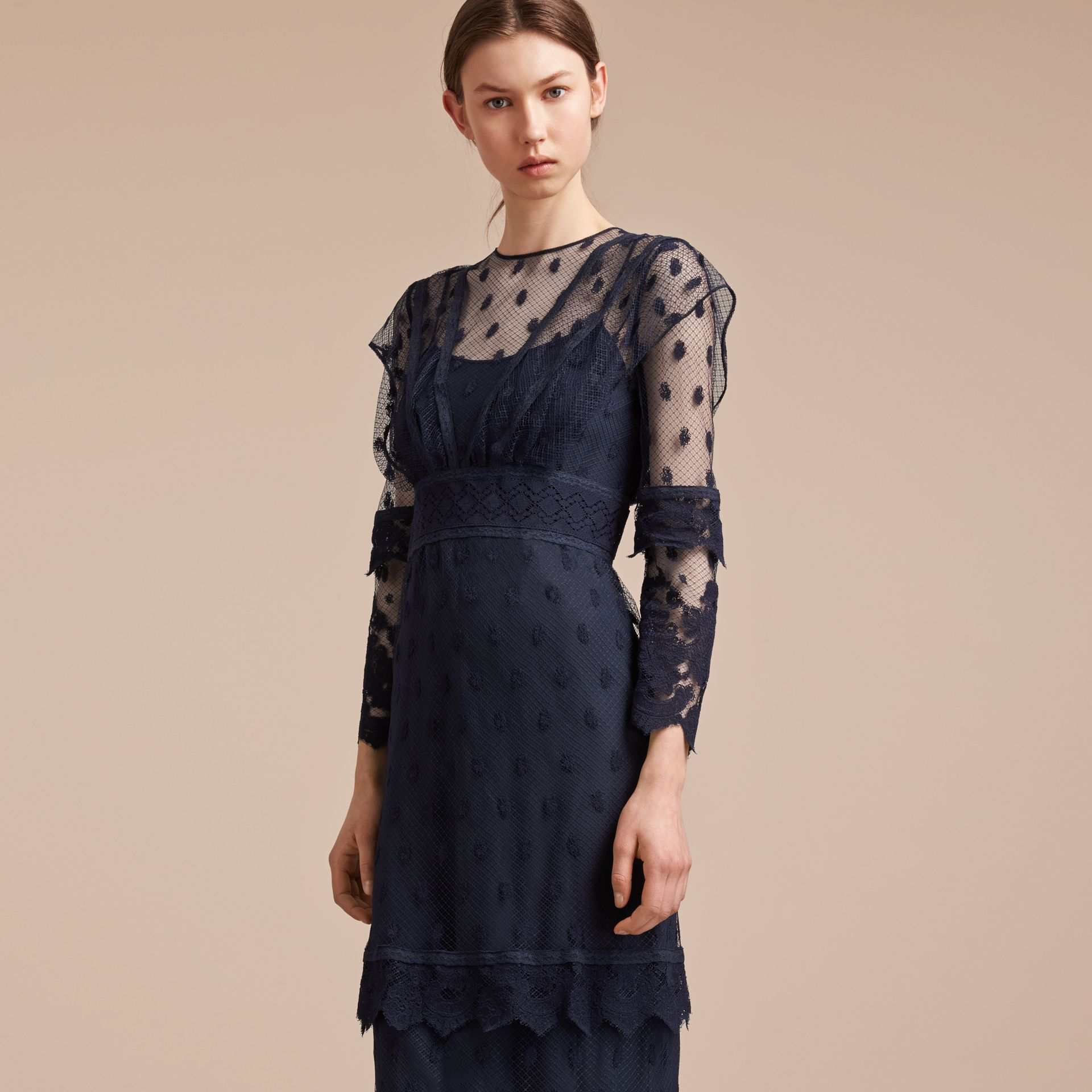 Embroidered Tulle Panel Dress - gallery image 5