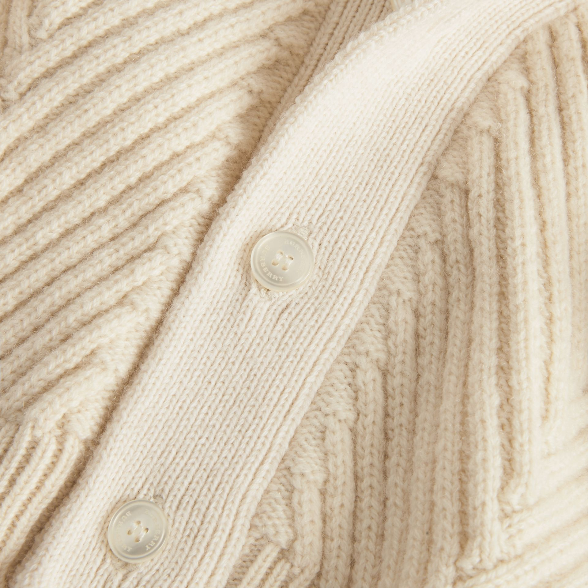 Rib Knit Wool Cashmere Cardigan in Ivory - Children | Burberry Australia - gallery image 1