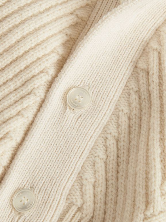 Rib Knit Wool Cashmere Cardigan in Ivory - Children | Burberry - cell image 1