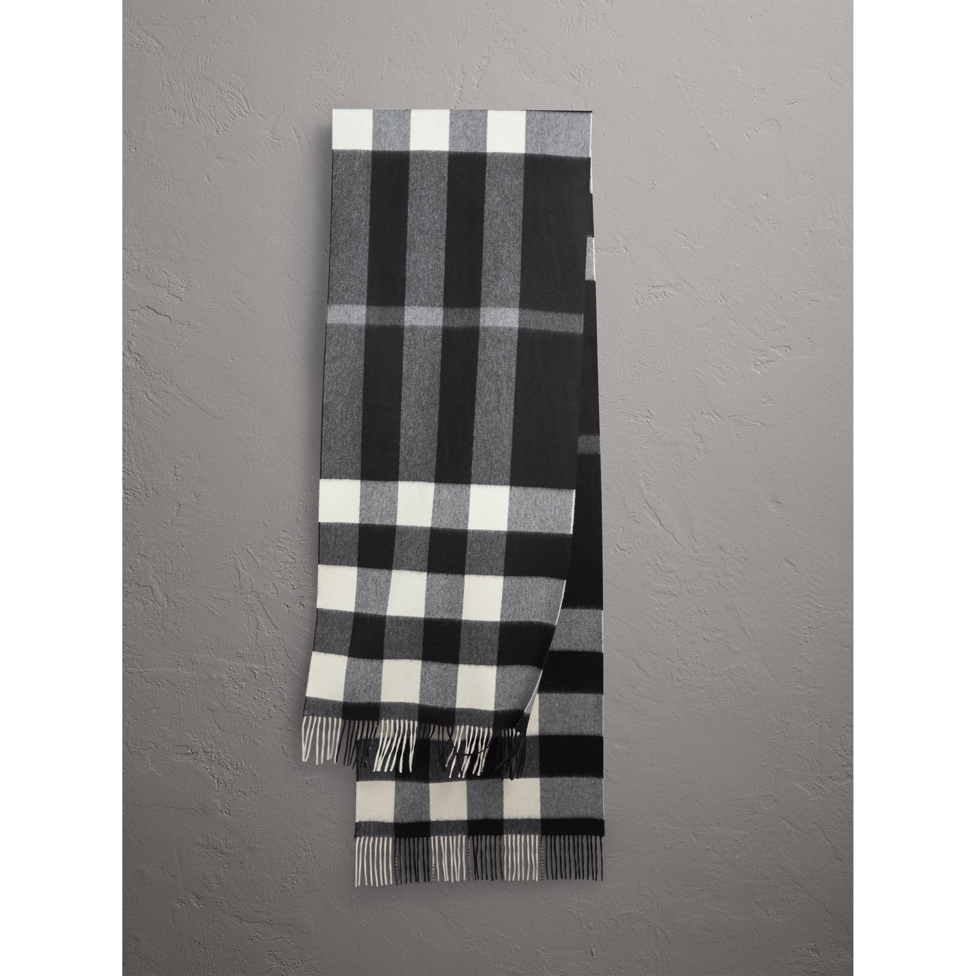 Oversize Check Cashmere Scarf in Black | Burberry United Kingdom - gallery image 1