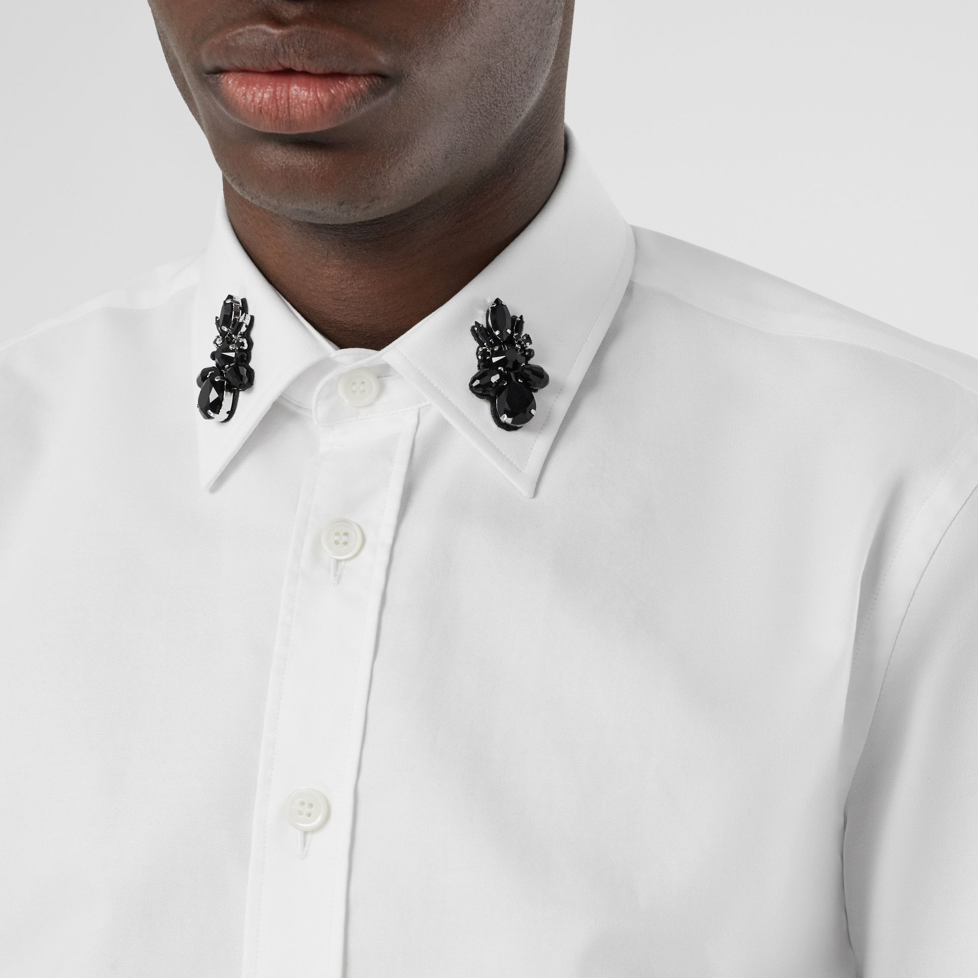 Classic Fit Crystal Detail Cotton Oxford Dress Shirt in White - Men | Burberry - gallery image 1