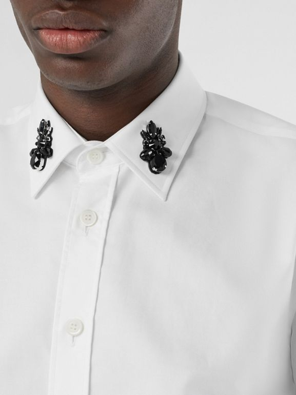 Classic Fit Crystal Detail Cotton Oxford Dress Shirt in White - Men | Burberry - cell image 1