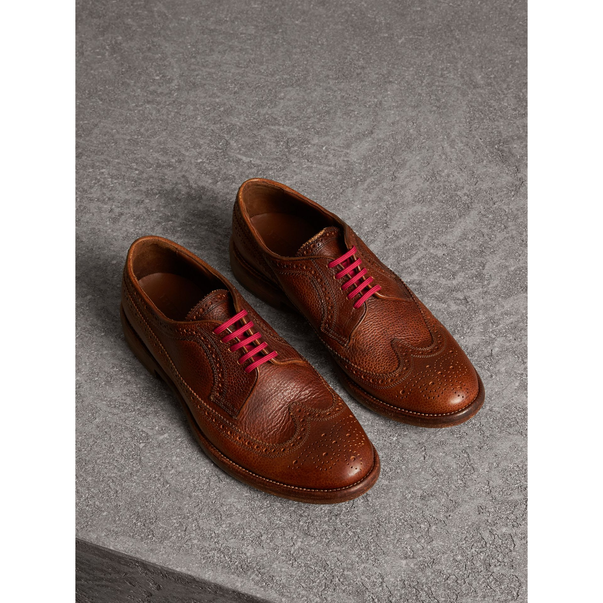 Grainy Leather Brogues with Bright Laces in Vintage Chestnut - Men | Burberry - gallery image 0