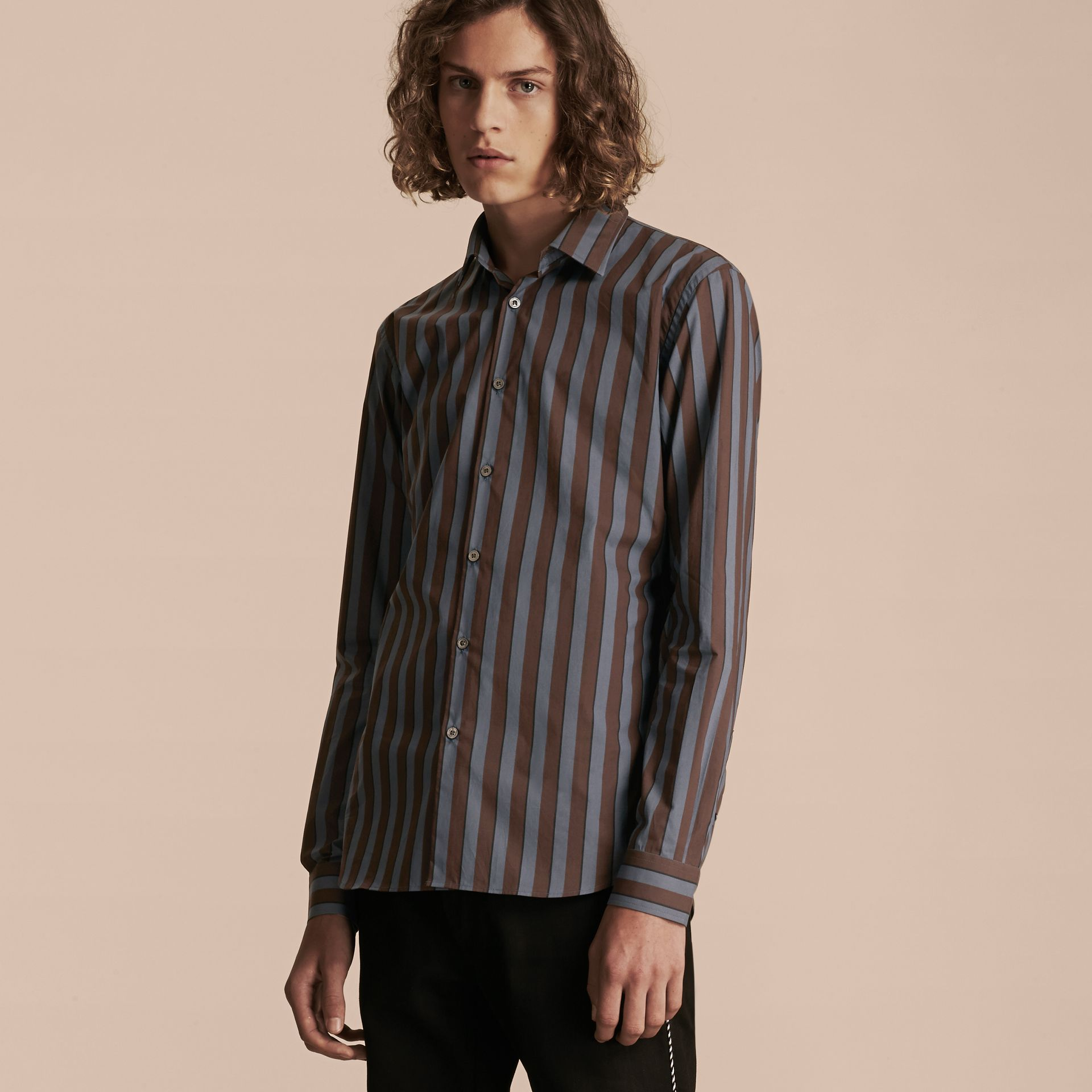 Navy Slim Fit Pyjama Stripe Cotton Poplin Shirt - gallery image 6