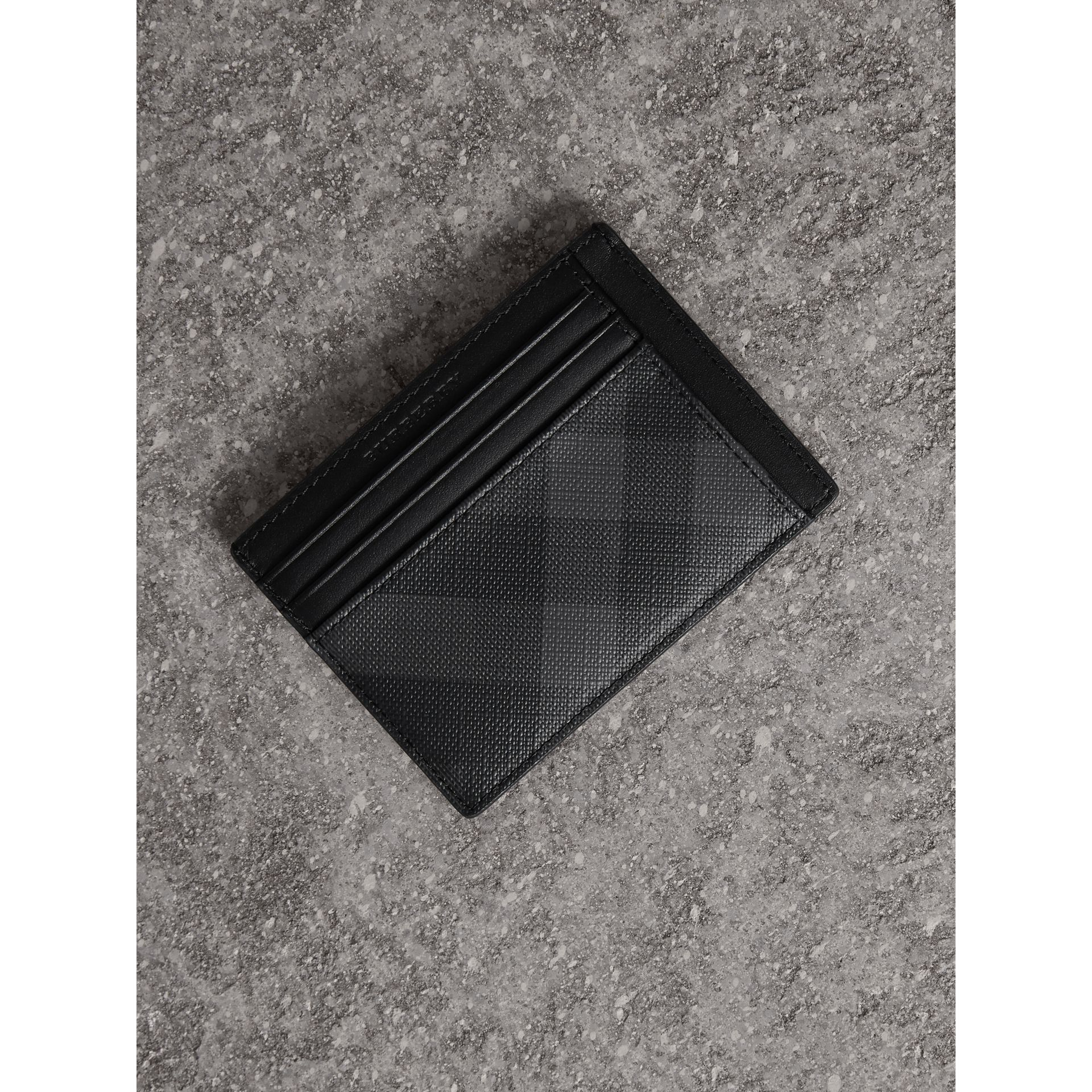 London Check Card Case in Charcoal/black - Men | Burberry United Kingdom - gallery image 0