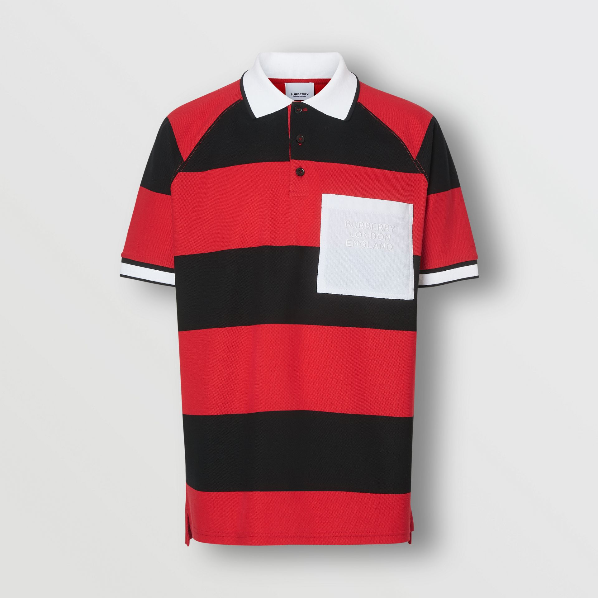 Striped Cotton Piqué Oversized Polo Shirt in Black/bright Red - Men | Burberry Hong Kong S.A.R - gallery image 3