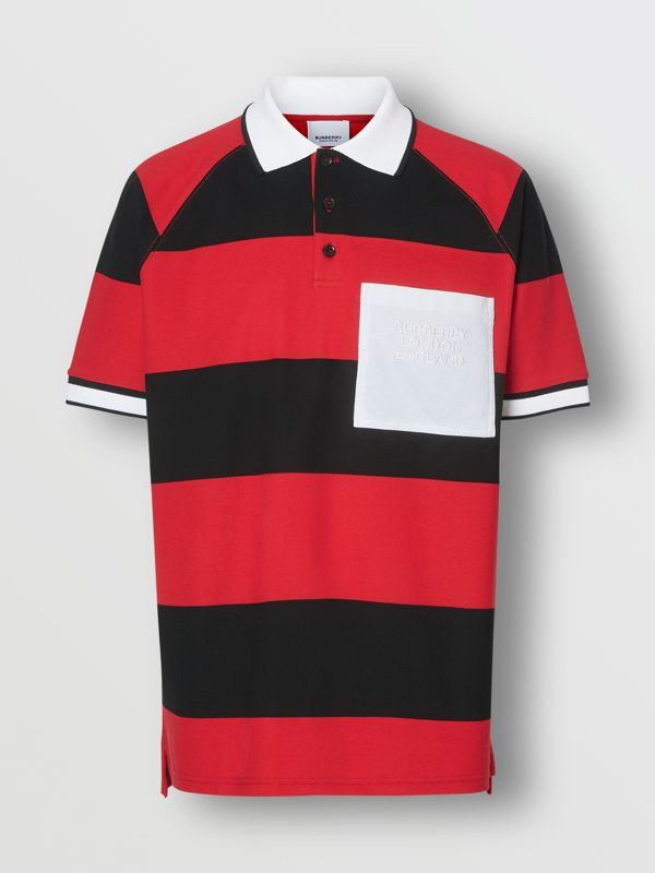 Striped Cotton Piqué Oversized Polo Shirt in Black/bright Red - Men | Burberry Hong Kong S.A.R - cell image 3