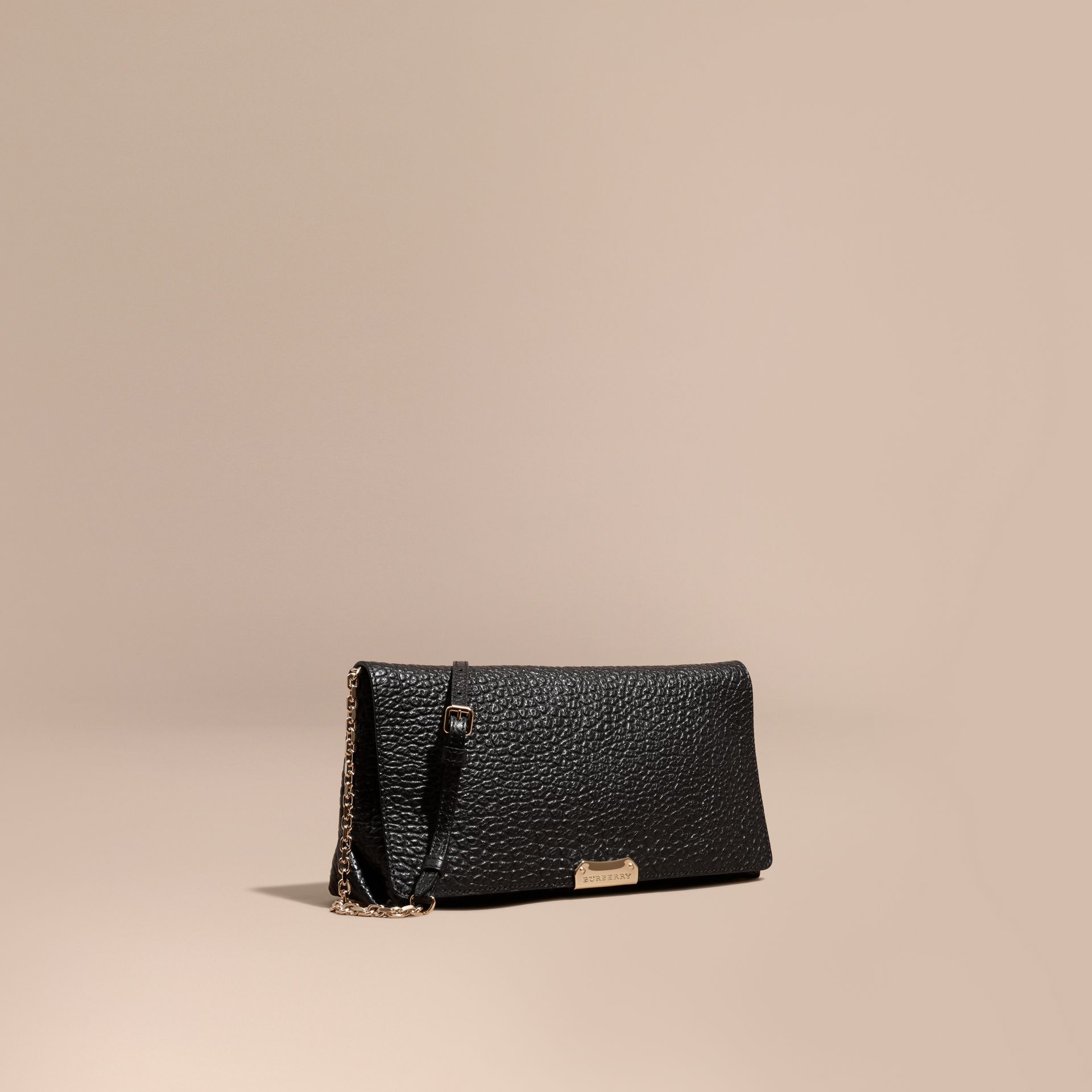 Black Medium Signature Grain Leather Clutch Bag - gallery image 1