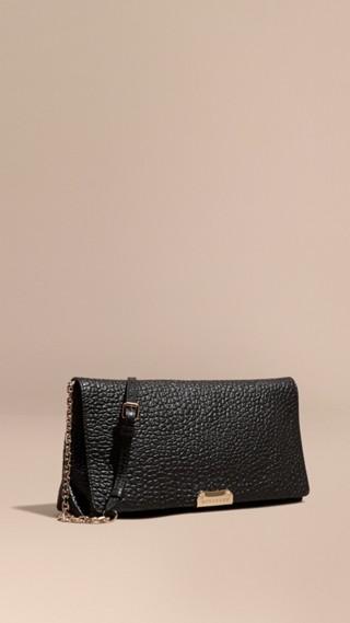 Medium Signature Grain Leather Clutch Bag
