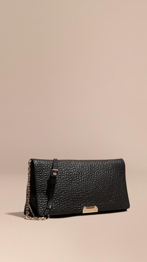 Black Medium Signature Grain Leather Clutch Bag Black - Image 1